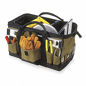 Synthetic Tool Bag, General Purpose, Number of Pockets: 32, Black, Tan