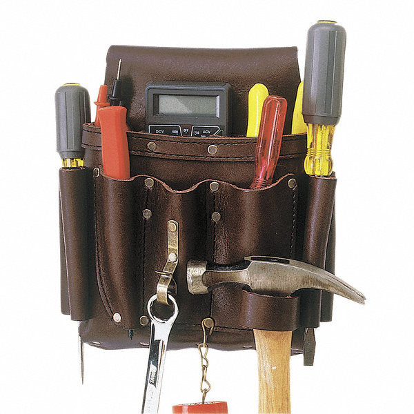 CLC Brown Electricians Tool Pouch, Top Grain Oiled Leather ...