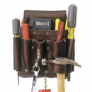 Brown Electricians Tool Pouch, Top Grain Oiled Leather, Fits Belts Up To (In.): 2-3/4