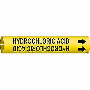 Pipe Marker,Hydrochloric Acid,Y,4 to6 In
