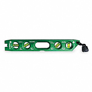 "Magnetic, Aluminum Torpedo Level, 8-1/2"" Length, Top Read: Yes"