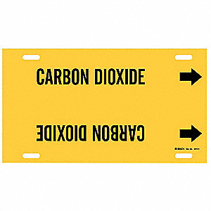 Pipe Marker,Carbon Dioxide,Y,10 to15 In