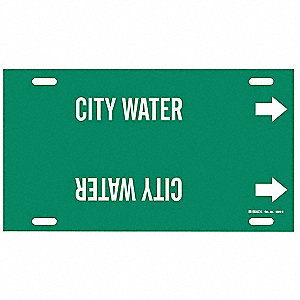 Pipe Marker, City Water, Green, 10 to 15 In