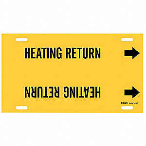 Pipe Marker,Heating Return,Y,6to7-7/8 In
