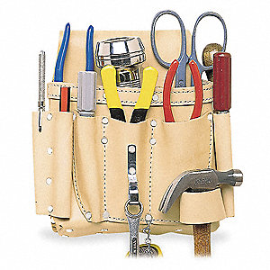 Tan Electricians Tool Pouch, Top Grain Saddle Leather, Fits Belts Up To (In.): 2-3/4