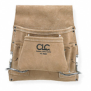 Tan Nail and Tool Pouch, Suede Leather, Fits Belts Up To (In.): 2-3/4