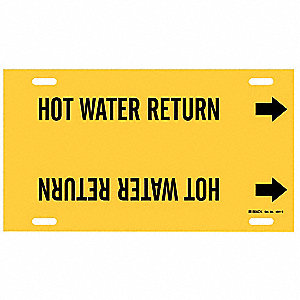 Pipe Marker, Hot Water Return, 8to9-7/8 In