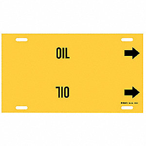 Pipe Marker,Oil,Yellow,10 to 15 In