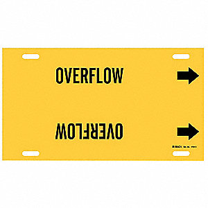 Pipe Marker, Overflow, Yellow, 10 to 15 In
