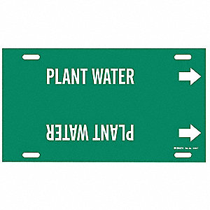 Pipe Marker, Plant Water, Grn, 6 to7-7/8 In
