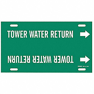 Pipe Marker,Tower Water Return,10to15 In