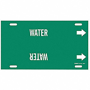 Pipe Marker,Water,Green,8 to 9-7/8 In