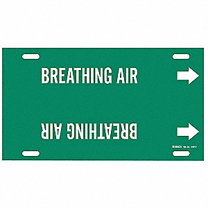 Pipe Marker,Breathing Air,Grn,10 to15 In