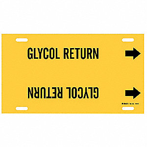 Pipe Marker,Glycol Return,Y,8 to9-7/8 In
