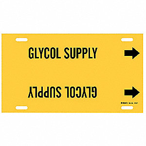 Pipe Marker, Glycol Supply, Y, 6 to7-7/8 In