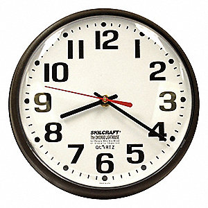 "9-1/5"" Wall Mount Round Analog Clock, Brown"
