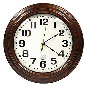 "16"" Wall Mount Round Analog Clock, Walnut"