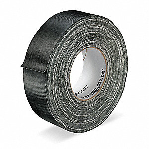 Industrial Duct Tape, 48mm X 55m, 12.00 mil Thick, Black Coated Cloth, 1 EA
