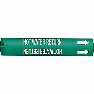 Pipe Marker,Hot Water Return,8to9-7/8 In