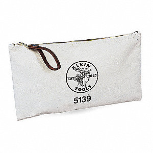 "Canvas Tool Bag, 12-1/2"" Width, Number of Pockets: 1, White"