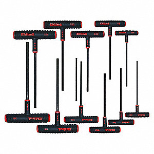 Long T-Shaped Ergonomic SAE Black Oxide Hex Key Set, Number of Pieces: 11