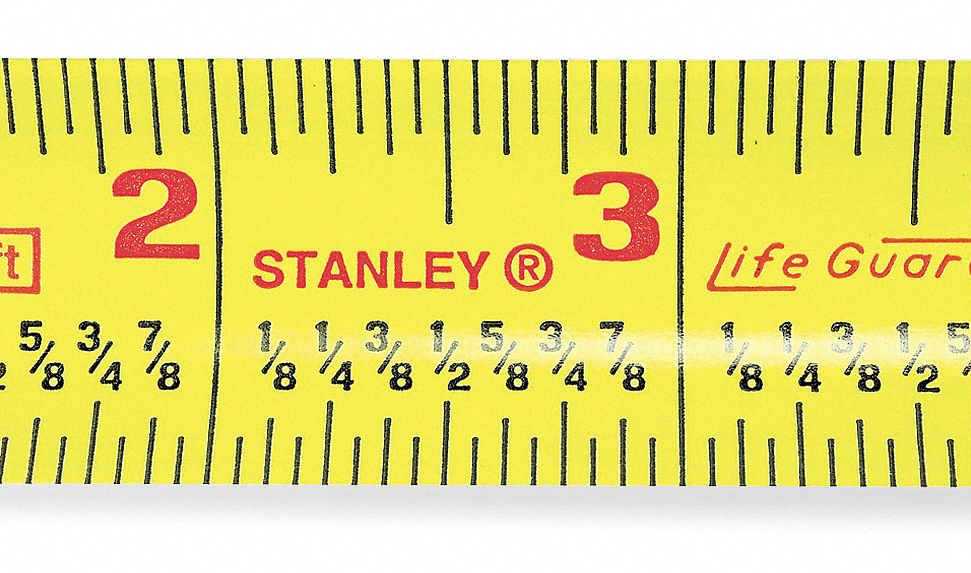 25 ft Steel SAE Tape Measure, Yellow