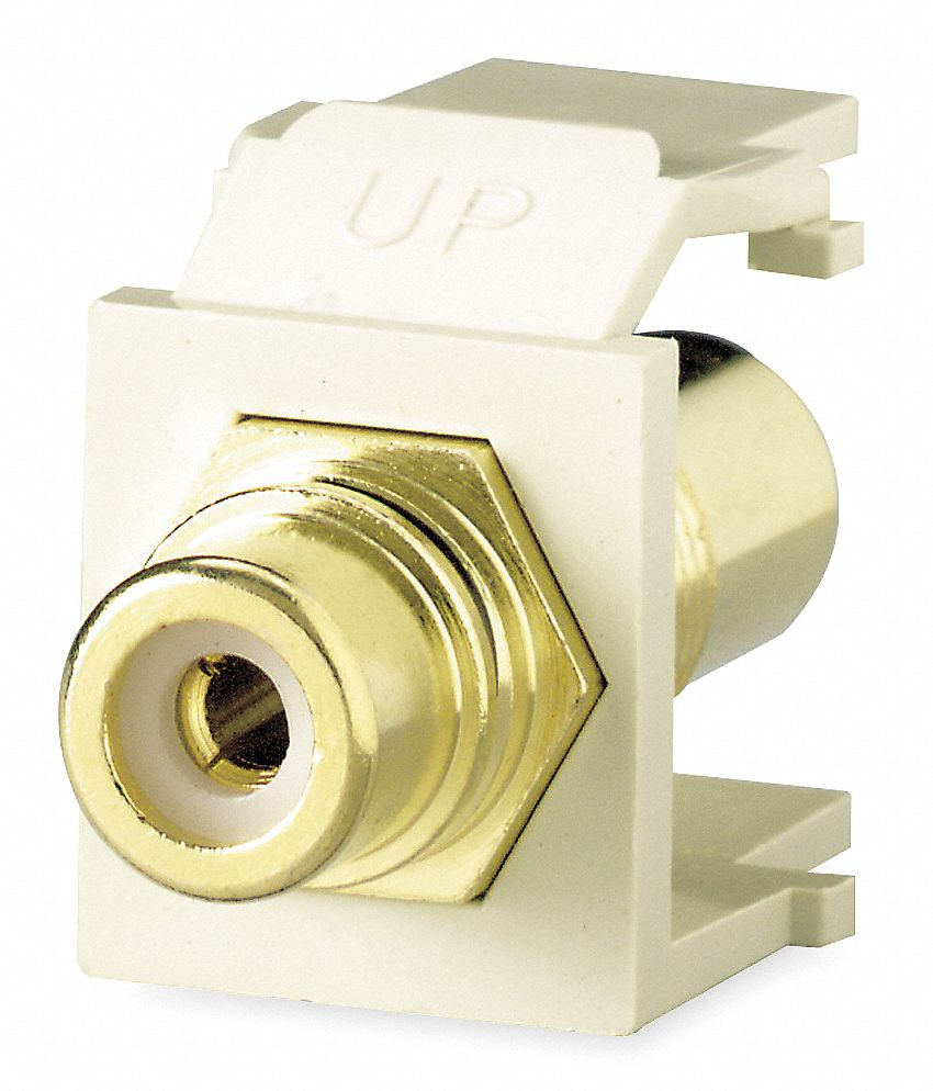 Keystone Jack, Ivory, Plastic, Series: QuickPort, Cable Type: RCA (Red)