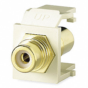 Keystone Jack, White, Plastic, Series: QuickPort, Cable Type: RCA (Black)