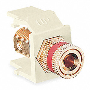 Keystone Jack, Ivory, Plastic, Series: QuickPort, Cable Type: Speaker (Red)