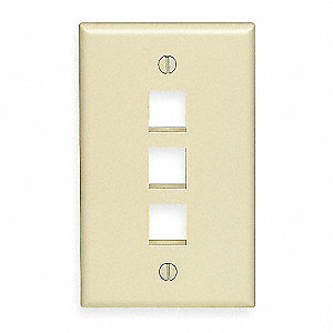 White Wall Plate, Plastic, Number of Gangs: 1, Cable Type: Flush Mount