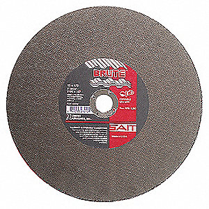 "14"" Type 1 Aluminum Oxide Abrasive Cut-Off Wheel, 1"" Arbor, 1/8""-Thick, 5400 Max. RPM"