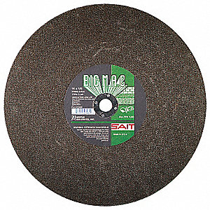 "14"" Type 1 Silicon Carbide Abrasive Cut-Off Wheel, 1"" Arbor, 0.125""-Thick, 5400 Max. RPM"