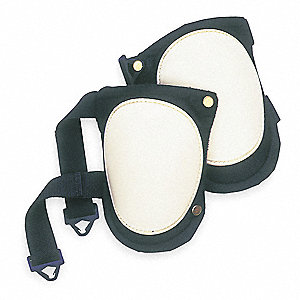 Flexible 2-Strap Knee Pads, Black/White, Universal