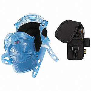 Hard Shell 2-Strap Removable Cap Knee Pads w/Tool Holder, Blue (Knee Pads)/Black (Tool Holder)