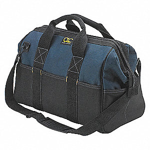 "Polyester Wide-Mouth Tool Bag, 16"" Width, Number of Pockets: 22, Black/Blue"