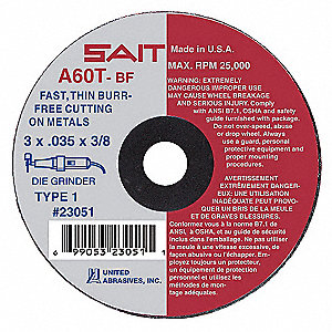 "3"" Type 1 Aluminum Oxide Abrasive Cut-Off Wheel, 1/4"" Arbor, 0.035""-Thick, 25,000 Max. RPM"