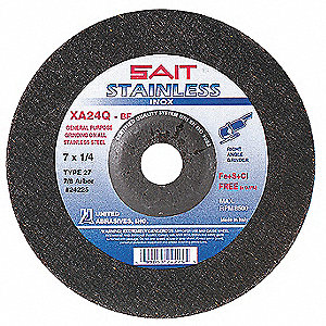 "7"" Type 27 Aluminum Oxide Depressed Center Wheels, 7/8"" Arbor, 1/4""-Thick, 8500 Max. RPM"