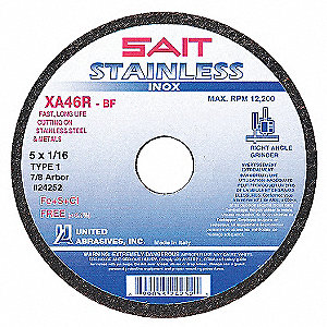 "CutOff Wheel,STAINLESS,4-1/2""x1/16""x7/8"""