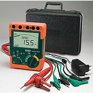 Backlit LCD with Bar Graph Battery Operated Megohmmeter&#x3b; Insulation Resistance Range: 0 to 6, 0 to 6