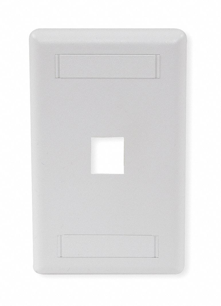 White,  Wall Plate,  Plastic,  Number of Gangs 1,  Flush Mount