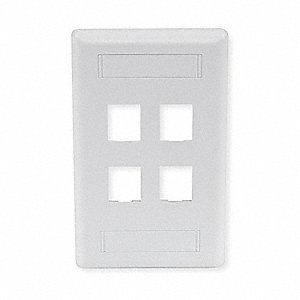 Office White Wall Plate, Plastic, Number of Gangs: 1, Cable Type: Flush Mount