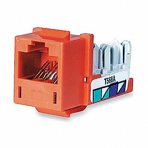 Modular Jack, Orange, Plastic, Series: Standard, Cable Type: Voice