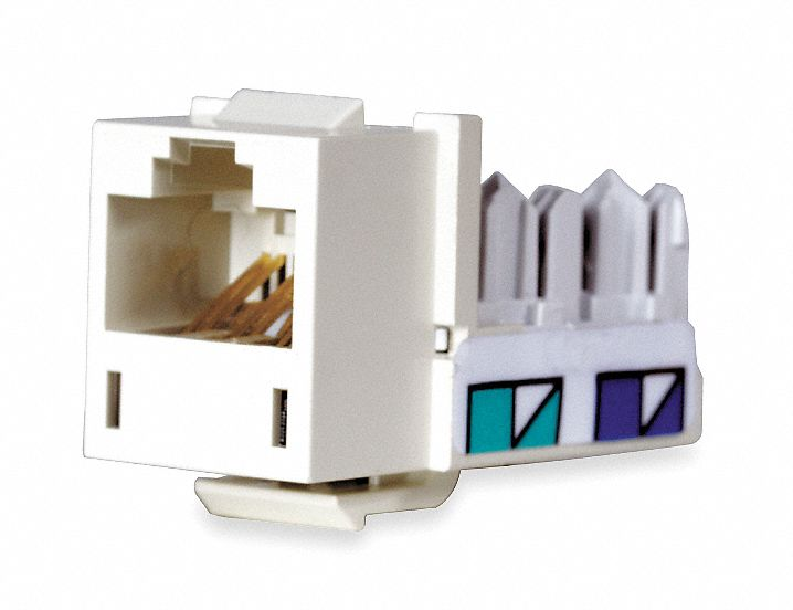 Modular Jack, Office White, Plastic, Series: Standard, Cable Type: CAT5e