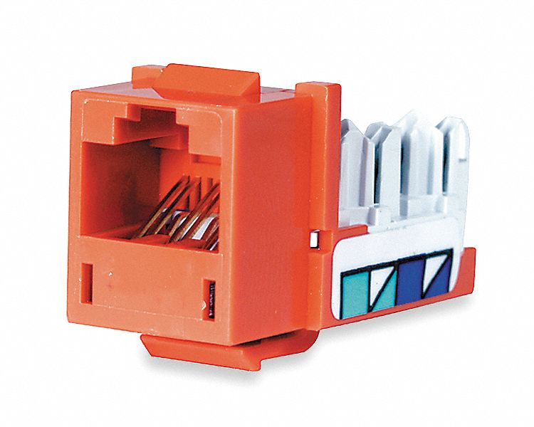 Modular Jack, Orange, Plastic, Series: Standard, Cable Type: CAT5e