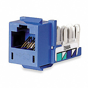 Modular Jack, Blue, Plastic, Series: Standard, Cable Type: Category 5e