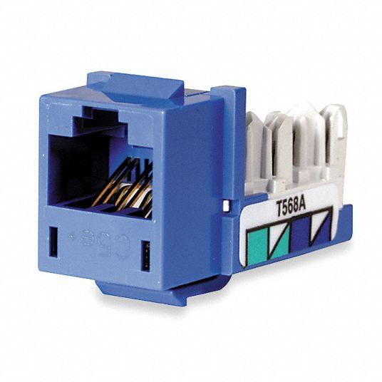 HUBBELL PREMISE WIRING Modular Jack, Blue, Plastic, Series: Standard, Cable  Type: CAT5e - 5LV63 HXJ5EB - GraingerGrainger