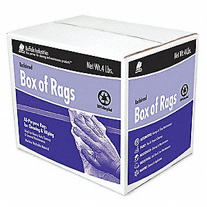 "Assorted, Recycled Cotton Cloth Rag, Size 7-9/10"" x 9-4/5"", 4 lb. Package Size, 1 EA"