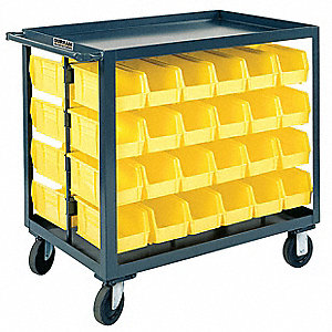 "35""H x 36""W Steel Mobile Bin Cart, 1200 lb. Load Capacity, Total Number of Bins: 64"