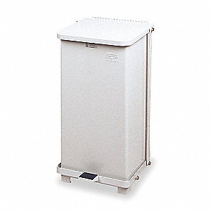 12 gal. Square White Wastebasket