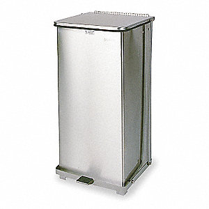 "Defender 24 gal. Square Flat Top Decorative Trash Can, 30""H, Silver"